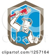 Clipart Of A Retro Cartoon Caucasian Male Plumber Holding Up A Monkey Wrench In A Blue White And Brown Shield Royalty Free Vector Illustration