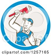 Clipart Of A Retro Cartoon Caucasian Male Plumber Holding Up A Monkey Wrench In A Blue White And Taupe Circle Royalty Free Vector Illustration