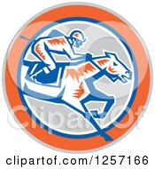 Clipart Of A Retro Woodcut Jockey Racing A Horse In A Gray Orange Blue And White Circle Royalty Free Vector Illustration