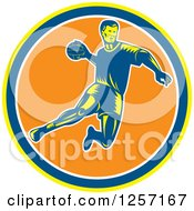 Clipart Of A Retro Woodcut Handball Player Jumping Over A Yellow Blue White And Orange Circle Royalty Free Vector Illustration by patrimonio