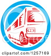 Clipart Of A Retro Red Woodcut Bus In A Blue And White Circle Royalty Free Vector Illustration