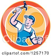 Clipart Of A Cartoon Handyman Or Carpenter With A Hammer In A Yellow Orange And White Circle Royalty Free Vector Illustration