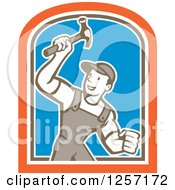 Cartoon Handyman Or Carpenter With A Hammer In A White Brown Orange And Blue Shield