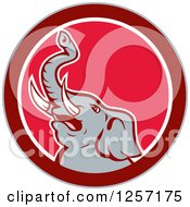 Clipart Of A Mad Elephant In A Red And White Circle Royalty Free Vector Illustration