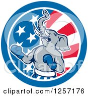 Clipart Of A Cartoon Republican Elephant Boxing In An American Flag Circle Royalty Free Vector Illustration