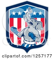 Clipart Of A Cartoon Republican Elephant Boxing In An American Flag Shield Royalty Free Vector Illustration