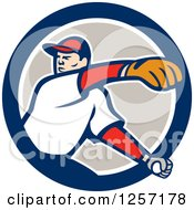 Clipart Of A Male Baseball Player Pitching In A Blue White And Taupe Circle Royalty Free Vector Illustration