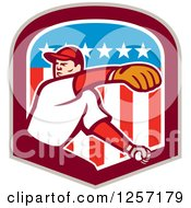 Clipart Of A Male Baseball Player Pitching In An American Flag Shield Royalty Free Vector Illustration