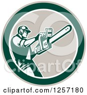 Clipart Of A Retro Male Arborist Using A Chainsaw In A Taupe White And Green Circle Royalty Free Vector Illustration