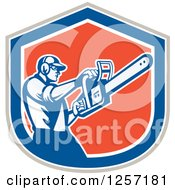 Clipart Of A Retro Male Arborist Using A Chainsaw In A Gray White Blue And Orange Shield Royalty Free Vector Illustration