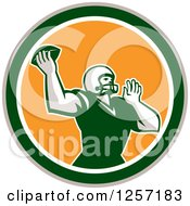 Clipart Of A Retro Male American Football Player Throwing In A Yellow White Tan And Green Circle Royalty Free Vector Illustration