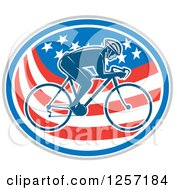 Clipart Of A Retro Male Cyclist In An American Flag Oval Royalty Free Vector Illustration by patrimonio