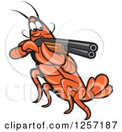 Clipart Of A Cartoon Crayfish Aiming A Shotgun Royalty Free Vector Illustration by patrimonio
