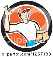 Clipart Of A Delivery Man Gesturing Ok And Carrying A Parcel In An Orange White And Black Circle Royalty Free Vector Illustration by patrimonio