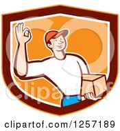 Delivery Man Gesturing Ok And Carrying A Parcel In An Orange Marroon And White Shield