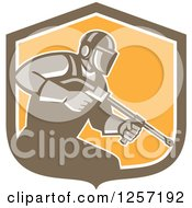 Clipart Of A Retro Pressure Washer Worker In A Brown White And Orange Shield Royalty Free Vector Illustration by patrimonio