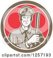 Retro Male Policeman With A Baton In A Brown White And Red Circle