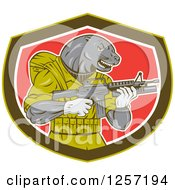Clipart Of A Navy Seal Animal Holding An Armalite M16 Firearm In A Shield Royalty Free Vector Illustration