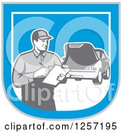 Clipart Of A Retro Male Mechanic With A Clipboard And Car In A Blue White And Gray Shield Royalty Free Vector Illustration