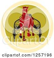 Clipart Of A Retro Jockey Racing A Horse Cart In A Circle Royalty Free Vector Illustration