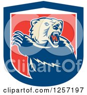 Clipart Of A Retro Grizzly Bear Roaring And Slashing With His Paw In A Red White And Blue Shield Royalty Free Vector Illustration by patrimonio