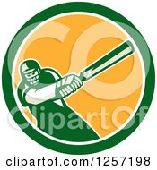 Clipart Of A Retro Cricket Batsman Player Swinging In A Blue White And Yellow Circle Royalty Free Vector Illustration by patrimonio