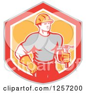 Clipart Of A Handyman Or Carpenter With A Hammer In A Gray Red White And Orange Shield Royalty Free Vector Illustration