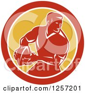 Clipart Of A Retro Male Rugby Player In A Red White And Yellow Circle Royalty Free Vector Illustration by patrimonio