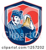 Clipart Of A Retro Scotsman In A Tartan Holding A Beer In A Blue White And Red Shield Royalty Free Vector Illustration