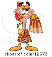 Clipart Picture Of A Sink Plunger Mascot Cartoon Character In Orange And Red Snorkel Gear