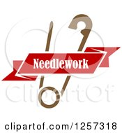 Clipart Of A Brown Safety Pin With A Red Ribbon Needlework Banner Royalty Free Vector Illustration by Vector Tradition SM