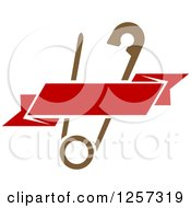 Clipart Of A Brown Safety Pin With A Red Ribbon Banner Royalty Free Vector Illustration by Vector Tradition SM