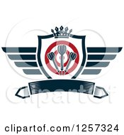 Clipart Of A Winged Shield With A Crown Target And Throwing Darts Over A Banner Royalty Free Vector Illustration