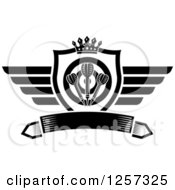 Clipart Of A Black And White Winged Shield With A Crown Target And Throwing Darts Over A Banner Royalty Free Vector Illustration by Vector Tradition SM