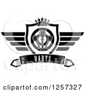 Clipart Of A Black And White Winged Shield With A Crown Target And Throwing Darts Over A Banner With Text Royalty Free Vector Illustration by Vector Tradition SM