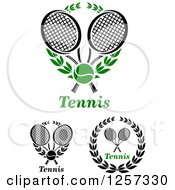 Clipart Of Tennis Balls And Laurel Wreaths With Crossed Rackets Royalty Free Vector Illustration