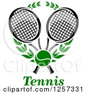 Clipart Of A Green Tennis Ball And Laurel Wreath With Crossed Black And White Rackets Over Text Royalty Free Vector Illustration