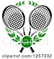 Clipart Of A Green Tennis Ball And Laurel Wreath With Crossed Black And White Rackets Royalty Free Vector Illustration