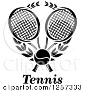 Clipart Of A Black And White Tennis Ball And Laurel Wreath With Crossed Rackets And Text Royalty Free Vector Illustration