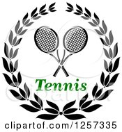 Clipart Of A Black And White Laurel Wreath With Crossed Tennis Rackets And Green Text Royalty Free Vector Illustration