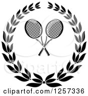 Clipart Of A Black And White Laurel Wreath With Crossed Tennis Rackets Royalty Free Vector Illustration