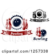 Poster, Art Print Of Bowling Banners With Pins And Balls