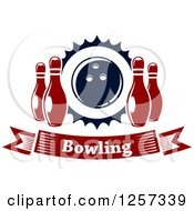 Poster, Art Print Of Bowling Banner With Pins And A Ball