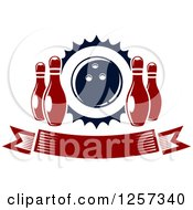 Clipart Of A Banner With Pins And A Bowling Ball Royalty Free Vector Illustration