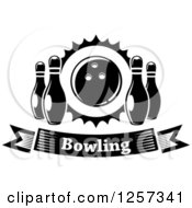 Poster, Art Print Of Black And White Bowling Banner With Pins And A Ball