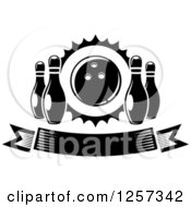 Clipart Of A Black And White Banner With Pins And A Bowling Ball Royalty Free Vector Illustration
