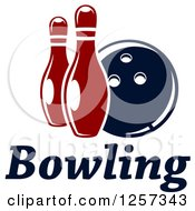 Poster, Art Print Of Bowling Ball With Two Pins Over Text