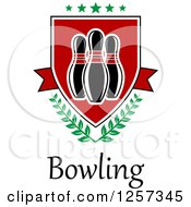 Poster, Art Print Of Bowling Shield With Laurels And Stars Over Text