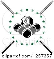 Clipart Of Billiards Balls In A Circle Of Green Stars Over Crossed Cue Sticks Royalty Free Vector Illustration by Vector Tradition SM