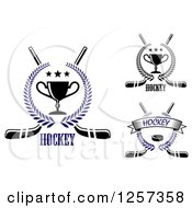 Clipart Of Laurel Wreaths With Trophies Pucks And Stars Over Crossed Hockey Sticks Royalty Free Vector Illustration